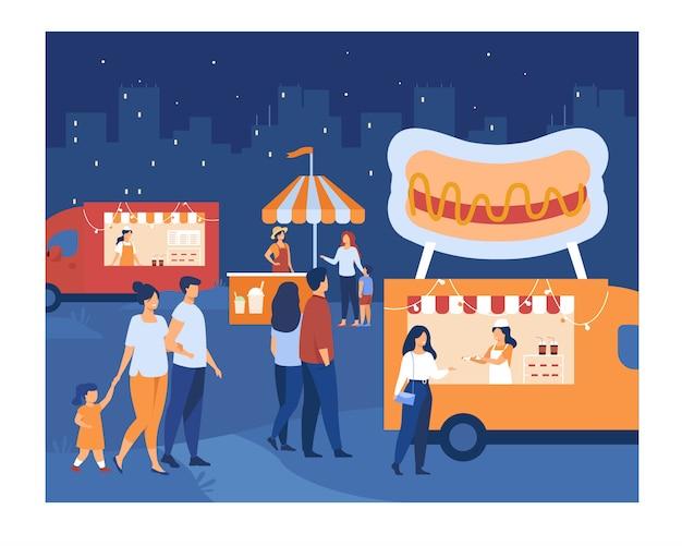 Menigte van mensen die buiten lopen op avondmarkt Gratis Vector