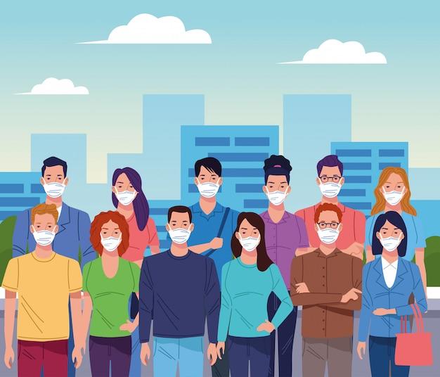 Menigte van mensen die gezichtsmasker gebruiken voor coronavirus op de stad Premium Vector