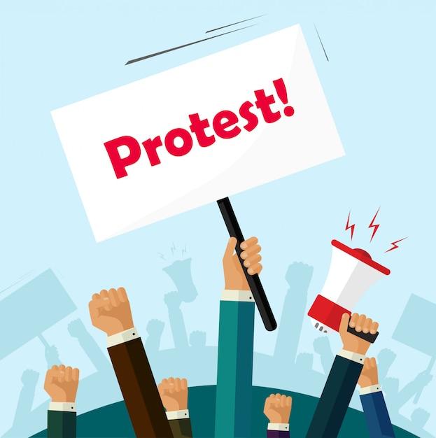 Menigte van mensen die protesteren Premium Vector