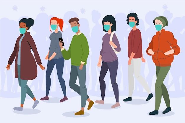 Menigte van mensen dragen gezichtsmaskers Gratis Vector