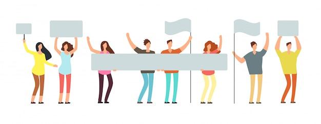 Menigte van protesterende mensen met vlaggen. Premium Vector