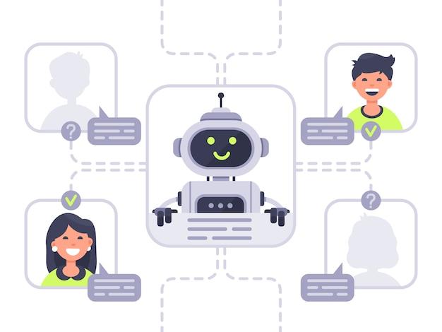 Mens communiceert met chatbot. virtueel assistent, ondersteuning en online hulpgesprek met chat bot illustratie Premium Vector