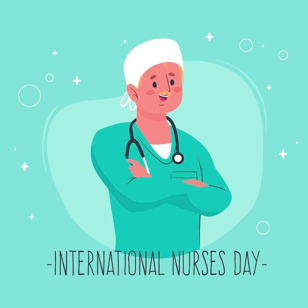 Mens die dag van stethoscoop de internationale verpleegsters dragen Gratis Vector