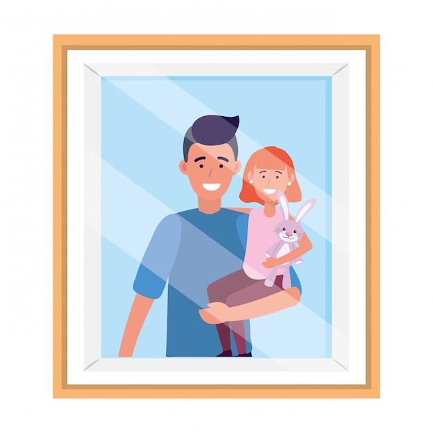 Mens die een frame van de kindfoto draagt Premium Vector