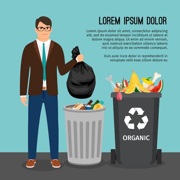Mens die een grote vuilniszak houdt, dichtbij de vuilniscontainer Premium Vector