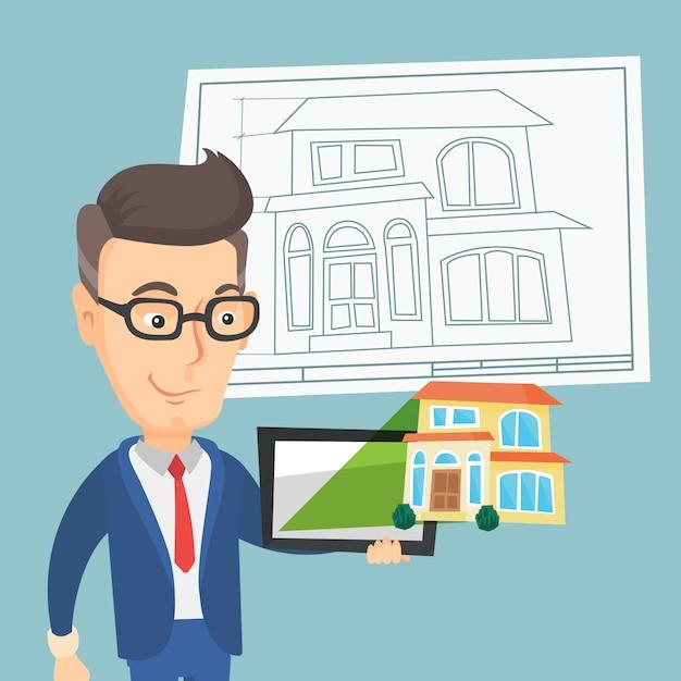 Mens die een huisfoto op een tabletcomputer toont. Premium Vector