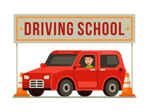Mens die een rode auto drijft op drijfschool met verkeerskegels Premium Vector