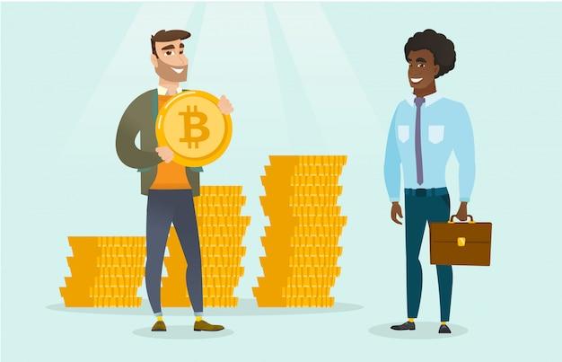 Mens die investeerder voor bitcoins voor zijn opstarten vraagt. Premium Vector