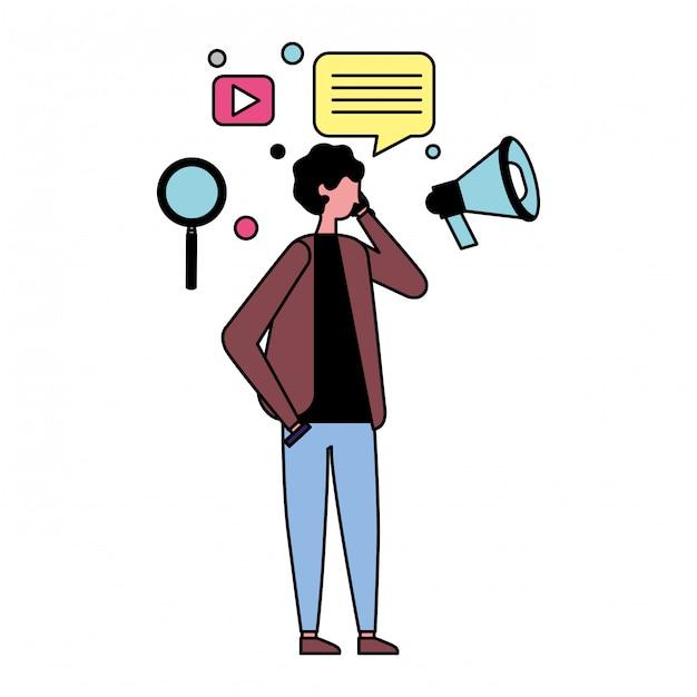 Mens die mobiele en sociale media pictogrammen gebruikt Premium Vector