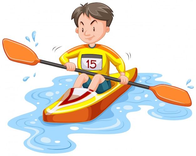 Mens die onderaan geïsoleerde rivier kayaking Gratis Vector
