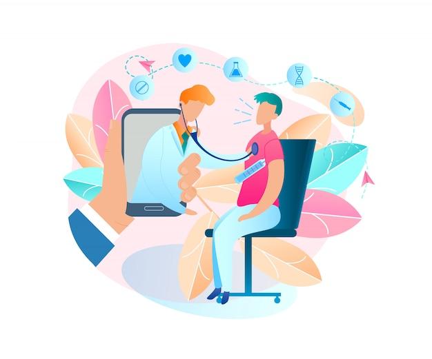 Mens die op stoel zit die lichaamstemperatuur meet. vectorillustratie mannelijke hand met mobiele telefoon. online raadpleging arts. patiënt onderzoeken. virusziekte. mannelijk kinderarts-monitorapparaat Premium Vector