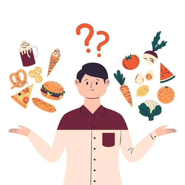 Mens die tussen gezonde of ongezonde voedselillustratie kiest Gratis Vector