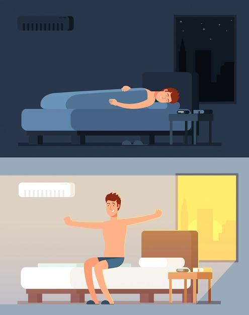 Mens die vreedzaam en in comfortabel bed bij nacht slapen slapen en peppy wakker in het vectorconcept van het ochtendbeeldverhaal Premium Vector