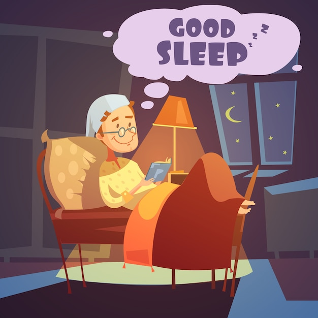 Mens in bed bij nacht met boekillustratie Gratis Vector