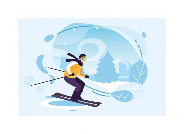 Mens met bergski in landschap met sneeuwval Premium Vector