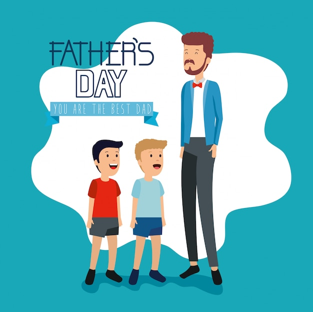 Mens met zijn zonen aan de viering van de vadersdag Premium Vector