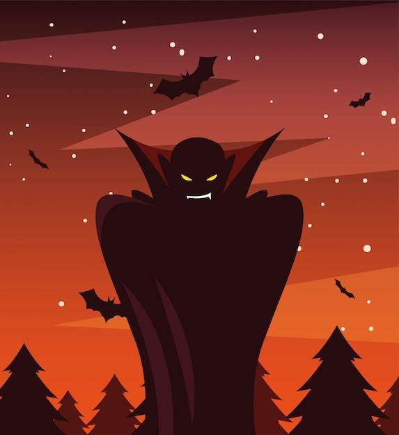 Mens vermomd van vampier in scène van halloween Premium Vector