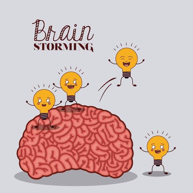 Menselijk brein ontwerp Premium Vector