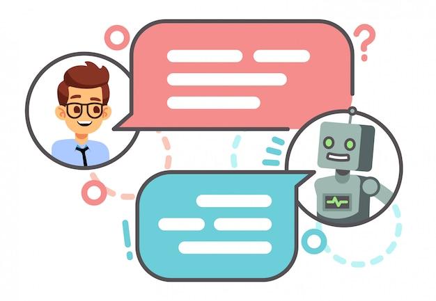 Menselijk gesprek met robot op smartphone. Premium Vector
