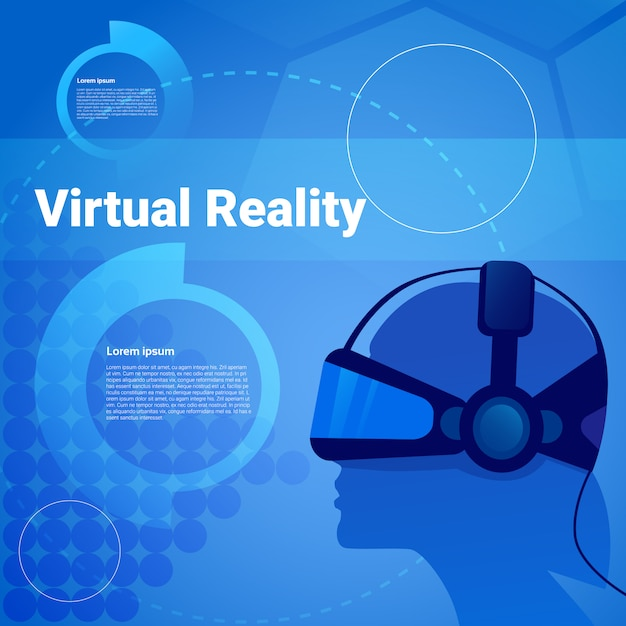 Menselijk hoofd die vr-achtergrond van de glazen de virtuele werkelijkheid met exemplaarruimte dragen Premium Vector