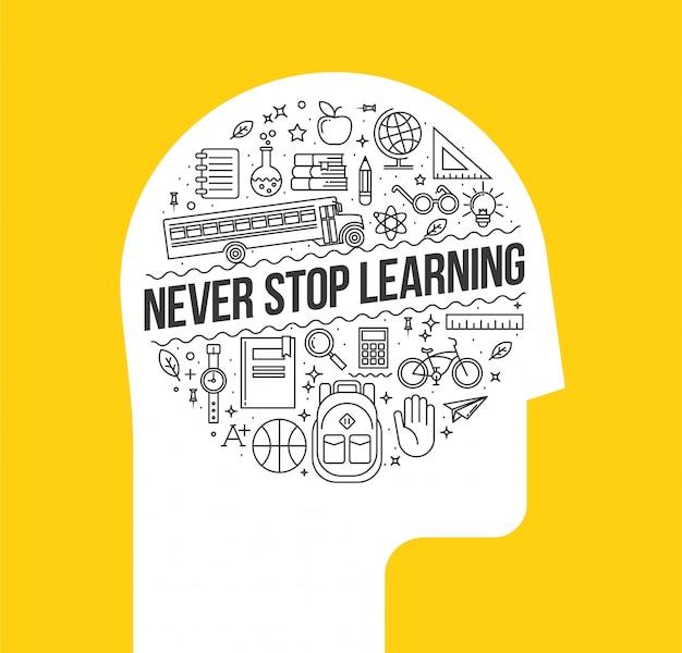 Menselijk hoofd silhouet met set van leren dunne lijn pictogrammen binnen met never stop learning binnen. Premium Vector