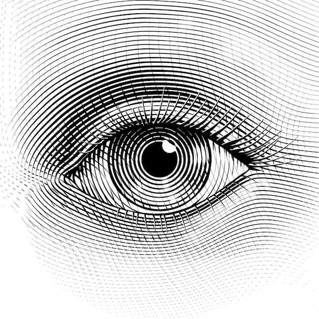 Menselijk oog in gegraveerde stijl Premium Vector