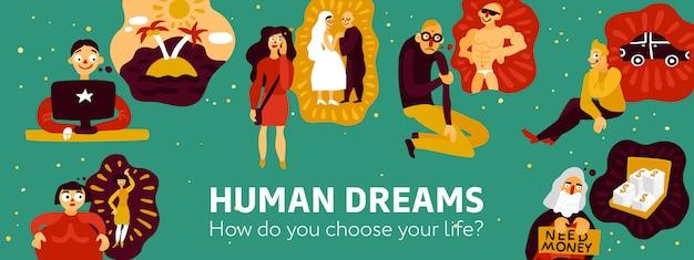 Menselijke dromen illustratie Gratis Vector