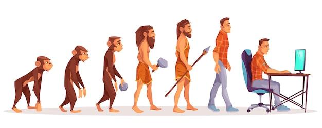Menselijke evolutie van aap aan moderne die mensenprogrammeur, computergebruiker op wit wordt geïsoleerd. Gratis Vector