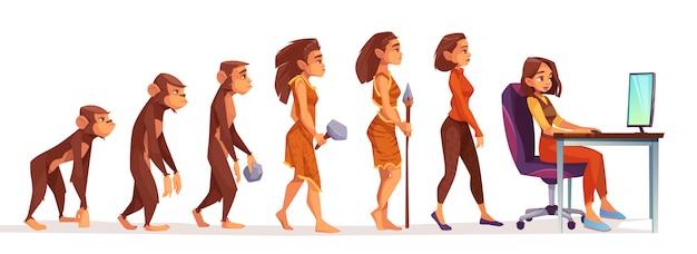 Menselijke evolutie van aap naar freelancer vrouw Gratis Vector