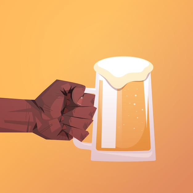 Menselijke hand met bierpul oktoberfeest partij viering concept plat Premium Vector