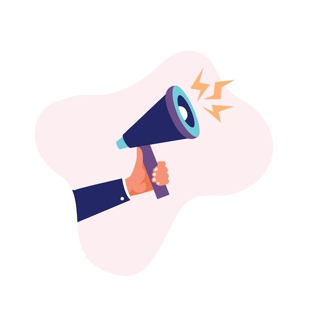 Menselijke hand met megafoon of bullhorn vectorillustratie Premium Vector