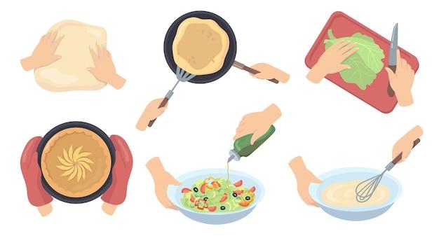 Menselijke handen bereiden van voedsel platte set Gratis Vector