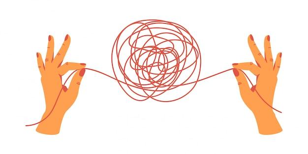 Menselijke handen die de uiteinden van de draden vasthouden, ontrafelen de kluwen. hand getrokken vectorillustratie. Premium Vector