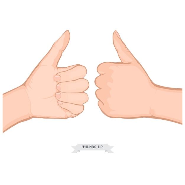 Menselijke handen duimen omhoog Premium Vector