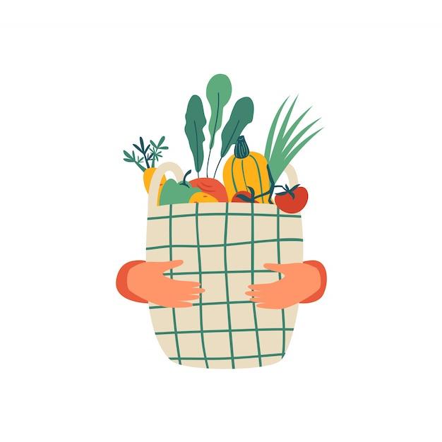 Menselijke handen houden eco mand vol groenten geïsoleerd op wit Premium Vector
