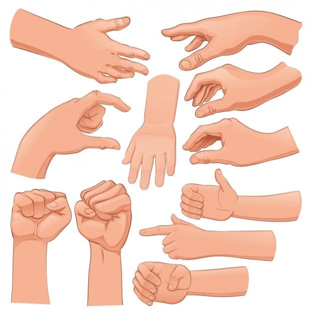 Menselijke handen set Gratis Vector