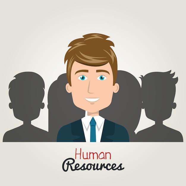Menselijke hulpbronnen karakter man elegant met pak. silhouet Premium Vector