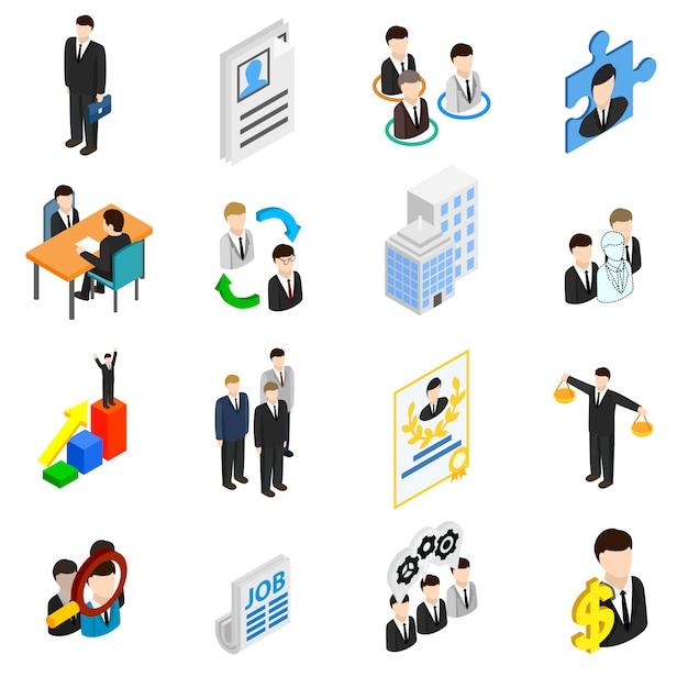 Menselijke hulpbronnen pictogrammen instellen Premium Vector