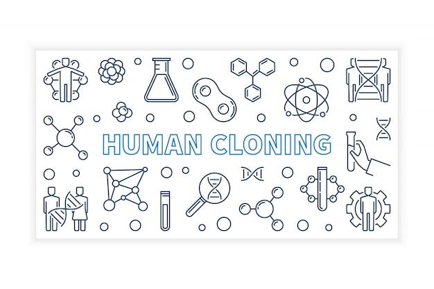 Menselijke klonen vector overzicht banner Premium Vector