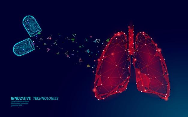 Menselijke longen geneeskunde behandeling concept. ademhalingsvirusinfectie kan gevaar opleveren. pil capsule medicamenteuze therapie tuberculose ziekenhuis poster sjabloon Premium Vector