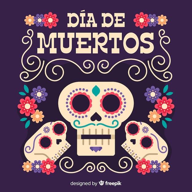 Menselijke mannelijke schedels día de muertos achtergrond Gratis Vector