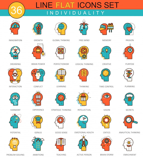 Menselijke mentaliteit persoonlijkheid individualiteit platte lijn pictogrammen Premium Vector