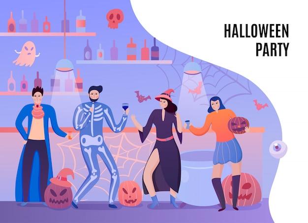 Menselijke personages in kostuums van vampierheks en skelet met drankjes tijdens halloween-partij vlakke illustratie Gratis Vector
