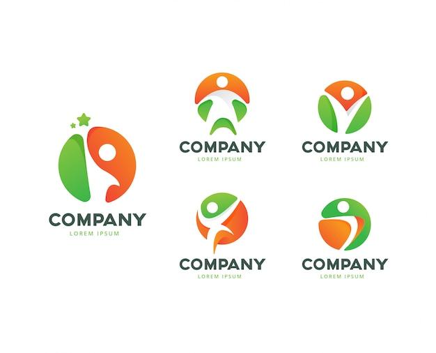 Menselijke pose cirkel logo collectie Premium Vector