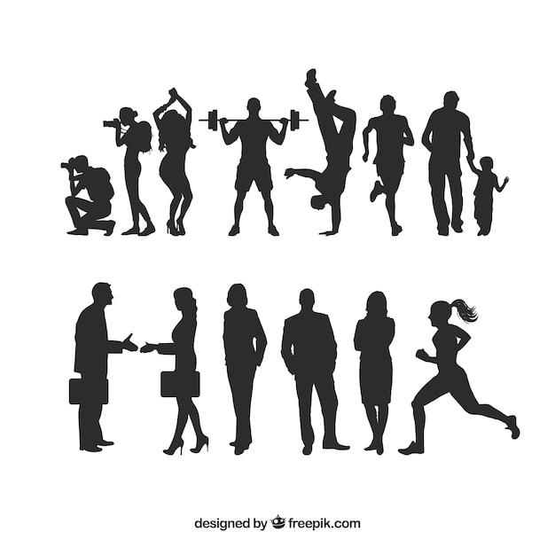 Menselijke silhouetten pakken Gratis Vector