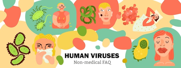 Menselijke virussen, lichaamsinfecties, zieke personen tijdens influenza, spijsverteringsziekte, huiduitslag, met de hand getekend Gratis Vector
