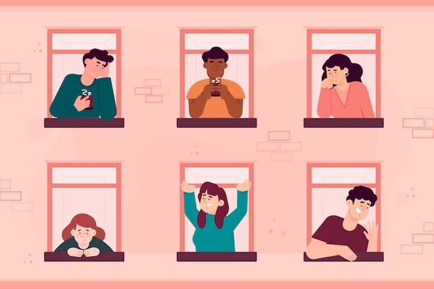 Mensen aan hun raam doen verschillende activiteiten Gratis Vector