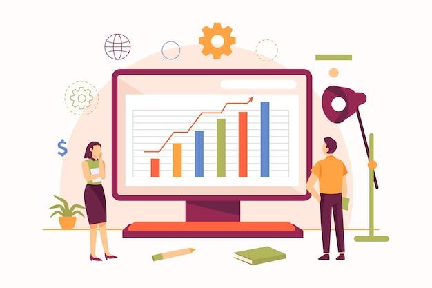 Mensen analyseren groeigrafieken geïllustreerd Gratis Vector