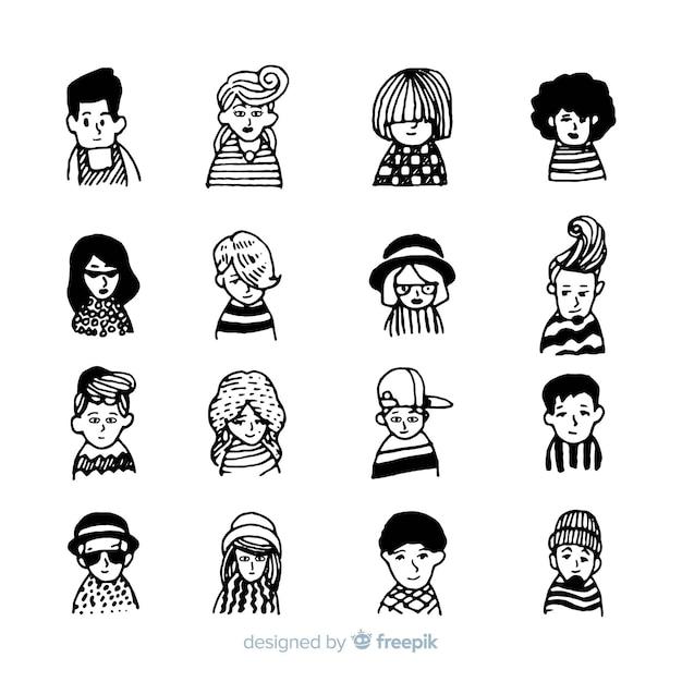 Mensen avatar batch in hand getrokken ontwerp Gratis Vector