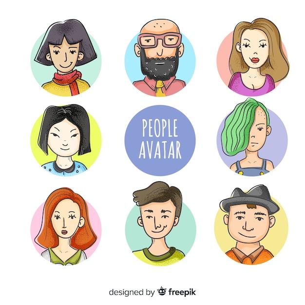 Mensen avatar collectie hand getrokken Gratis Vector